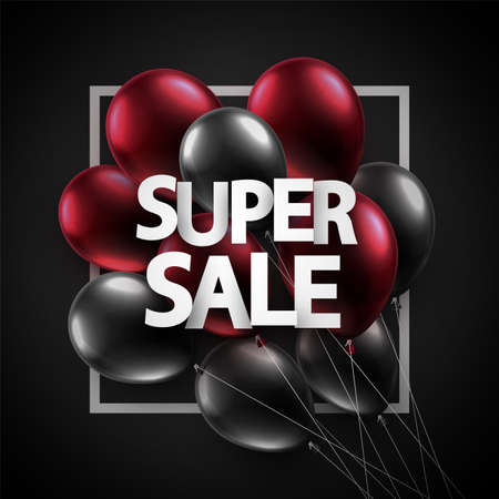 Red and black balloons with super sale sign. For flyers, advertising, posters. Vector festive illustration.