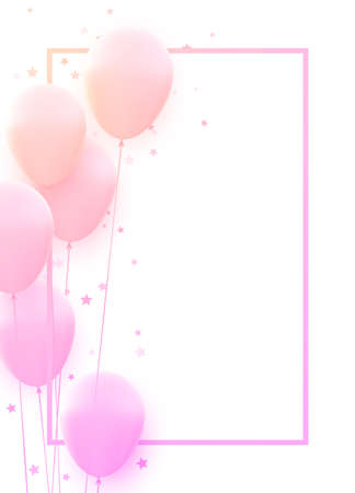 Bunch of pink balloons with square frame. Stars confetti. Space for text. Vector festive illustration. Ilustração