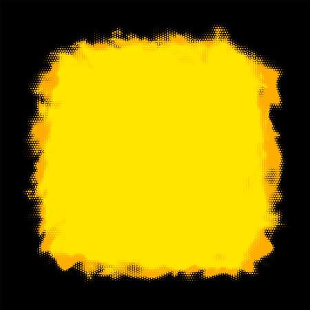 Abstract yellow and black background. Halftone dotted orange frame. Vector illustration. Ilustração