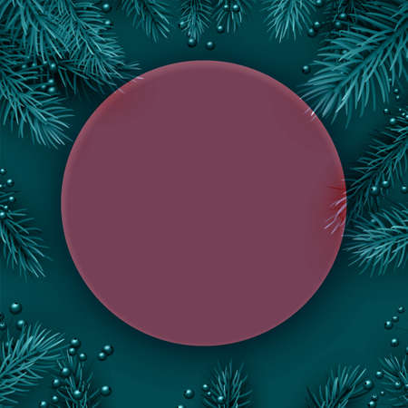 Red semi-transparent new year round frame background. Spruce branch. Space for text. Vector winter holiday illustration.