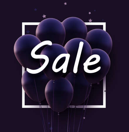 Dark violet balloons with white sale sign. Stars confetti. Vector illustration.