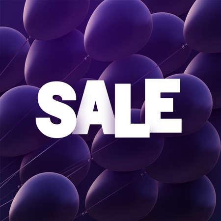 Violet balloons background with white sale sign. Vector illustration. Ilustração