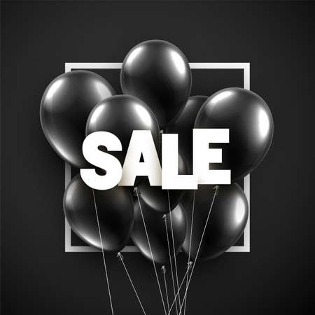Black balloons with white sale sign. Square frame. Vector illustration.