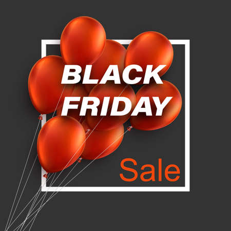 A bunch of red balloons with black friday sale sign. Vector illustration.