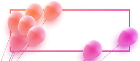 Bunch of pink gradient balloons with square frame. Banner. Space for text. Vector festive illustration.