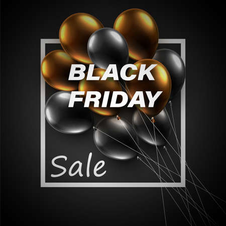 A bunch of brown and black balloons with black friday sale sign. Vector illustration.