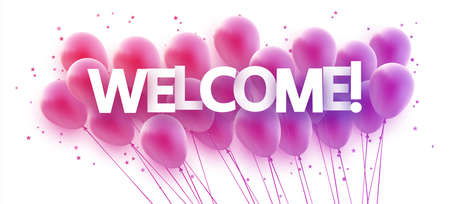 Bunch of violet gradient balloons with stars confetti. Welcome sign. Vector festive illustration.