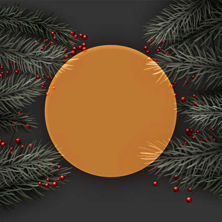 Yellow semi-transparent new year frame background. Spruce branch with red berries. Space for text. Vector winter holiday illustration.