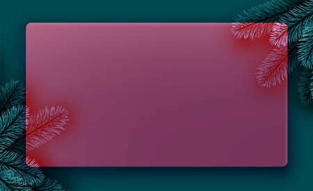 Red semi-transparent new year frame background. Spruce branch. Space for text. Vector winter holiday illustration.