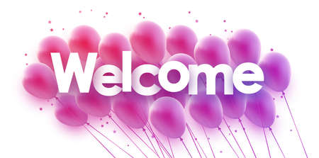 Bunch of purple gradient balloons with stars confetti. Welcome sign. Vector festive illustration.