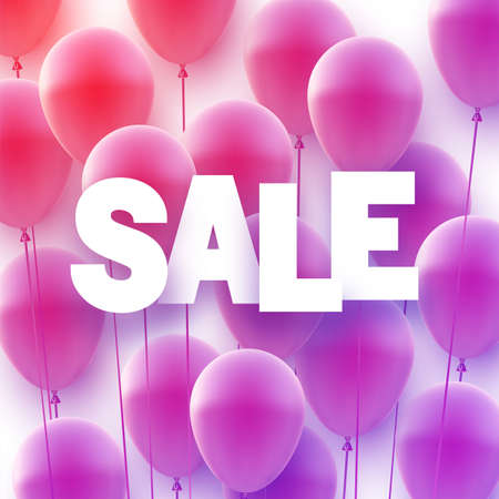 Violet and red balloons background with white sale sign. Vector illustration.