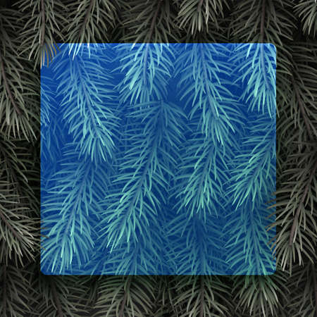 Blue semi-transparent new year background. Spruce branch. Space for text. Vector winter holiday illustration.