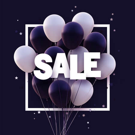 Dark violet and white balloons with white sale sign. Stars confetti. Vector illustration. Ilustração