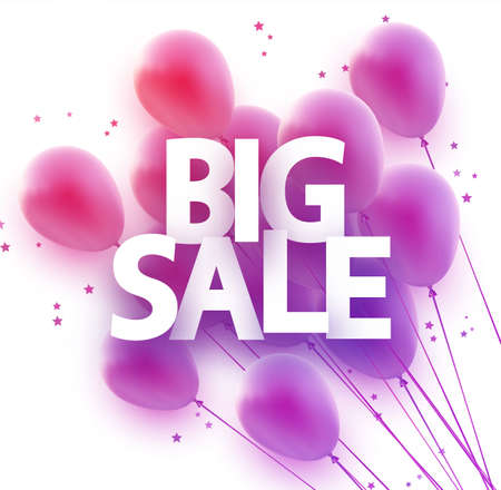Pink balloons with big sale sign. Stars confetti. For flyers, advertising, posters. Vector festive illustration. Ilustração