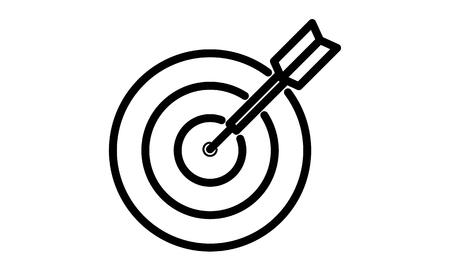 Pictogram - Dart, Arrow, Target, Aim, Bulls eye, Direct hit, Hit the mark, Strike home - Object, Icon, Symbol Stock Photo