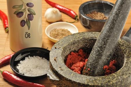Harissa chili paste in a mortar and pestle, spice