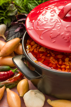 Cold vegetable soup in a black ceramic pot with red cover Stock Photo