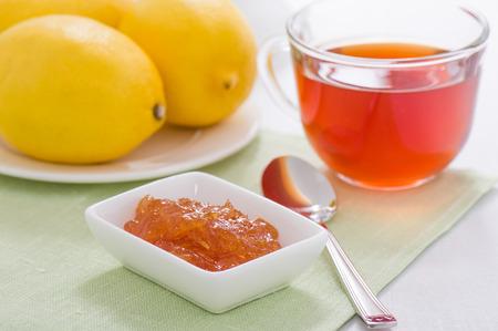 lemon marmalade, lemon and a cup of tea