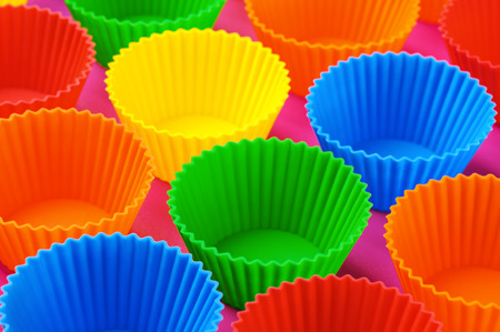 Bright colored silicone baking cupcakes and muffins