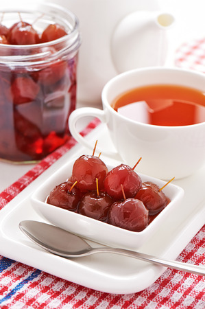 Homemade jam of wild apples in syrup Stock Photo