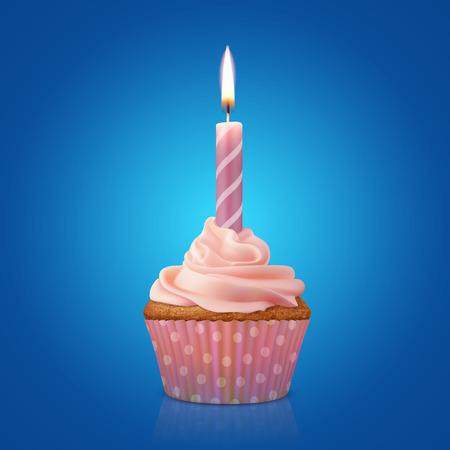 candela: Bign� di festa con candela che brucia, illustrazione vettoriale realistico