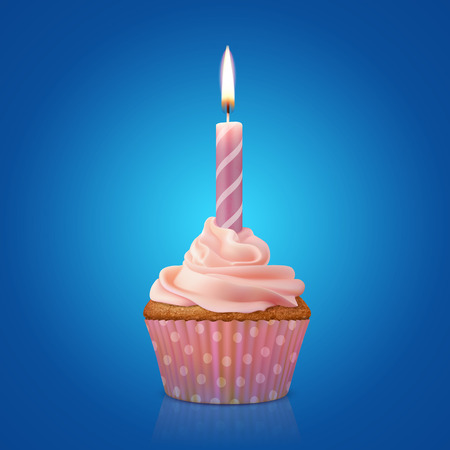 burning candle: Festive cupcake with burning candle, realistic vector illustration