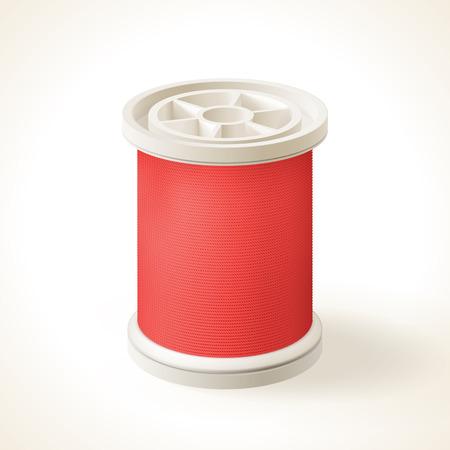 Full spool of red thread, vector graphic Illustration