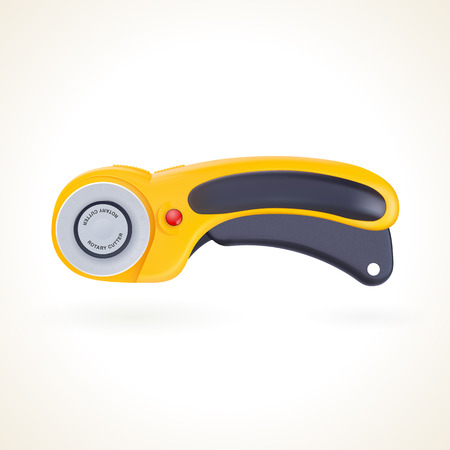 quilting: Rotary cutter for patchwork and quilting, knife for fabric, vector graphic