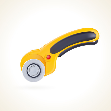 Rotary cutter for patchwork and quilting, knife for fabric, vector graphic