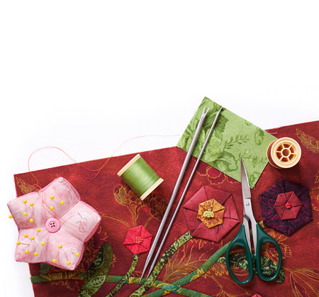 applique: Tools for applique to fabric and detail of the quilt