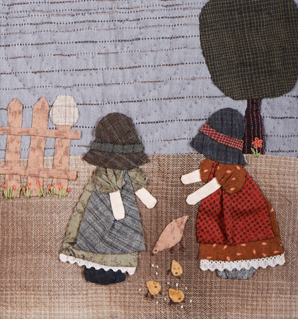 to sue: Sunbonnet sue applique quilt  with two little girls in village