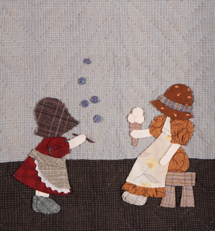 to sue: Sunbonnet sue applique quilt with two little girls