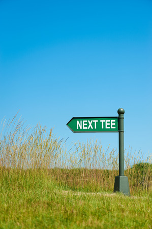 caddie: Next tee sign on the golf direction Stock Photo