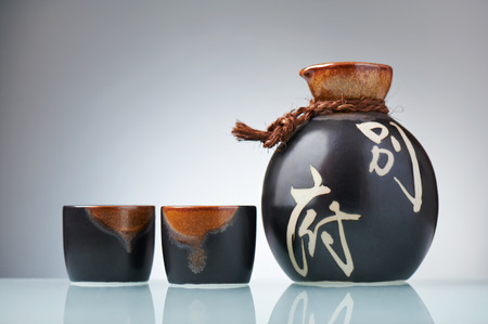 japanese people: Japanese Sake set from a bottle and two shot glasses
