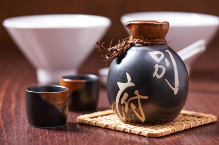 shot glasses: Japanese Sake set from a bottle and two shot glasses