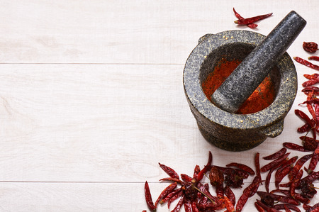 Pestle with mortar, surrounded by dried chili and habanero peppers. Cooking spices