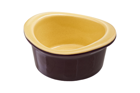 ramekin: Olive ramekin cut out on a white background Stock Photo