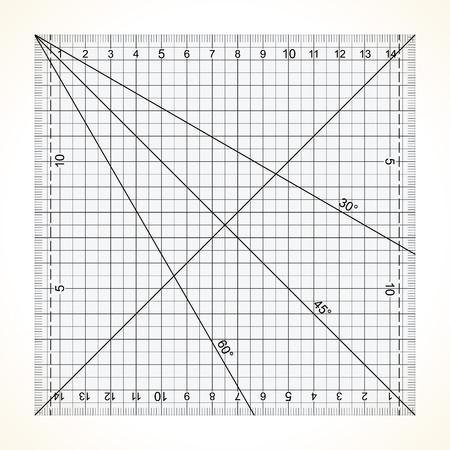 ミリ スケールで縫い合わせ、四角い透明定規
