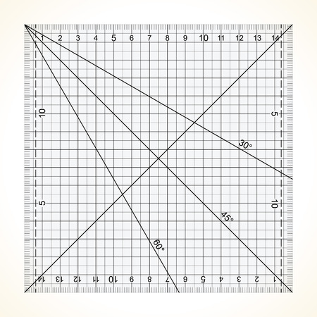 Square transparent ruler for quilting with millimeter scale Illustration