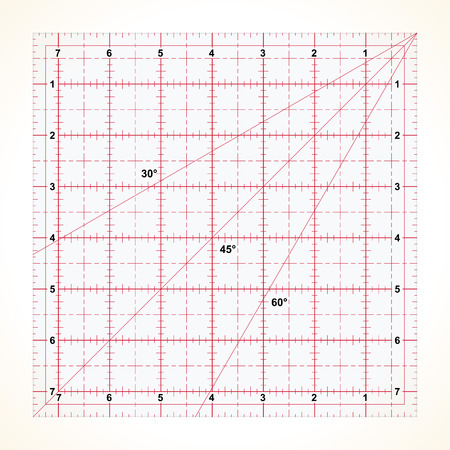 inches: Square transparent ruler for quilting with inches scale