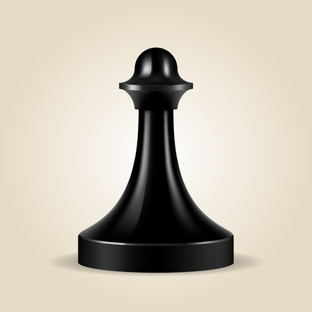 chessman: Chess piece black pawn isolated, look like realistic, vector illustration Illustration