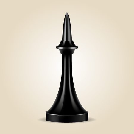 Chess piece black bishop isolated, look like realistic, vector illustration
