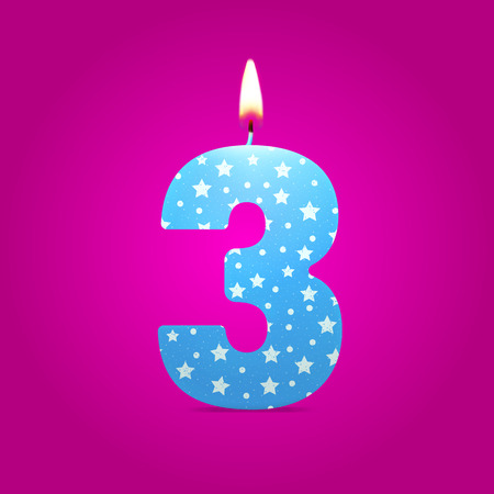 Burning candle in the form of number birthday