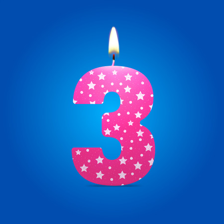 burning candle: Burning candle in the form of number birthday