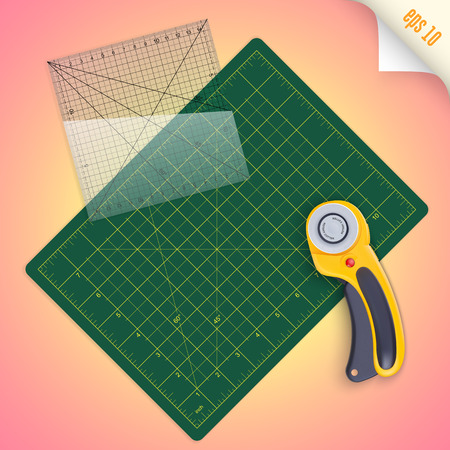 quilting: Cutting mat, square transparent ruler with millimeter scale and rotary cutter for quilting and patchwork, vector illustration