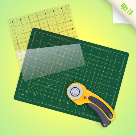 Cutting mat, square transparent ruler with inch scale and rotary cutter for quilting and patchwork, vector illustration