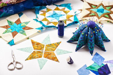 Design of element quilt in progress, prepared cut pieces, ready elements Stockfoto