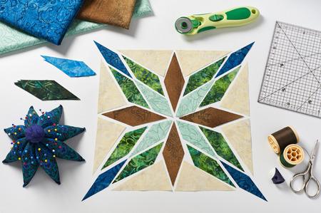 Design of  element quilt in progress, prepared cut pieces, top view