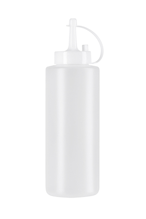 White plastic sauce bottle isolated over the white background
