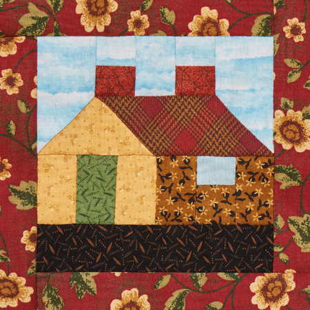 Patchwork block the village house in rustic style Stock Photo
